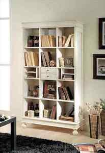 libreria aperta bianca laccata 2 cassetti centrali cm