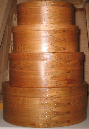 CHERRY SHAKER OVAL BOXES---STACK  OF 4-----SIZES # 3-6