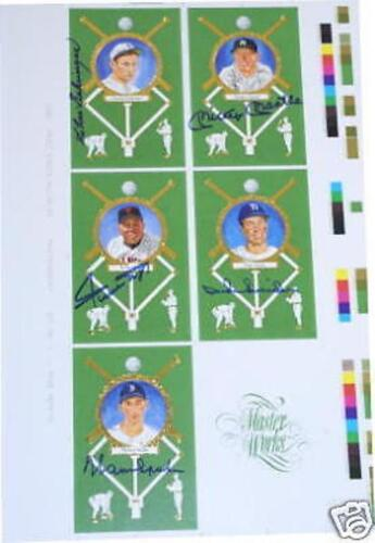 Mickey Mantle Willie Mays Duke Snider Autographed Perez Steele Uncut Sheet Set