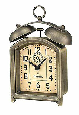 Bulova Holgate Analog Cast Metal Bronze Mechanical Twin Bell Alarm Clock B8128