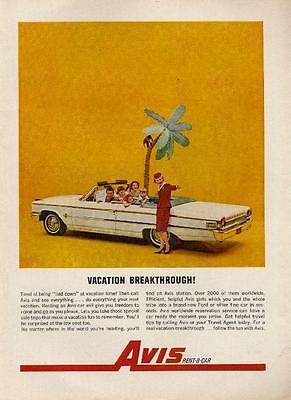 1962 Avis Car Rental Ford Fairlane Convertible 2 Door Avis Girl Uniform Print Ad