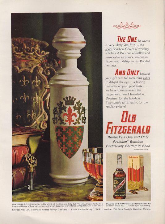 "1962 Stitzel Weller PRINT AD Old Fitzgerald ""Fleur-De-Lis"" Vintage Decanter"