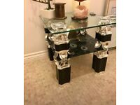 Small Silver/Black and Glass table
