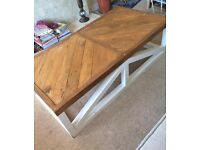 Large reclaimed wooden herringbone coffee table wood rustic