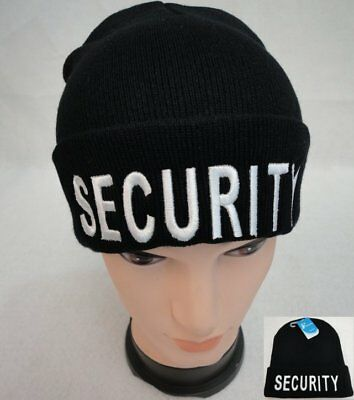 Security Guard Officer Black Acrylic Knit Warm Watch Cap Beanie Patrol Hat Black Knit Beanie Cap Hat