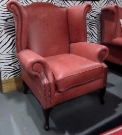 Stunning New Chesterfield Queen Anne Wing Back Chair Leather - UK Delivery