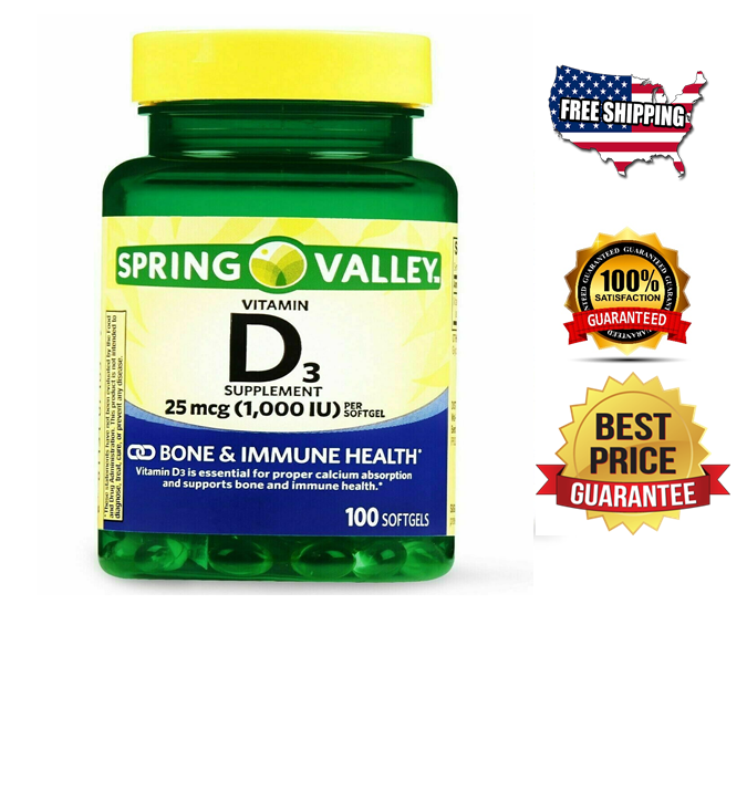 Vitamin D3 1000 IU 25 mcg, 100 Softgels  immune health  vitamina D3  Softgel 100