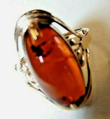 14K Yellow Gold Ring  with Natural Baltic Amber Oval Shape 4.44 gram size 8 3/4 Oval Shape Amber Ring