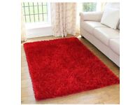 Brand New Bedroom rug soft fluffy thick red rug 150 x 80cm carpet rugs £25