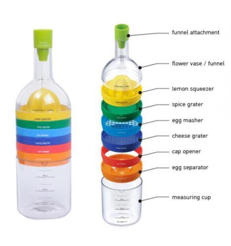 8 in 1 Kitchen Kit Bin Multi Kitchen Kit Gadget Tools Juices Strains Grates