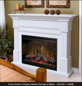 Retail $1,130 Dimplex White Fireplace with Firebox, NEW
