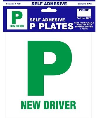 Pack Of 2 P Plate New Driver Green Self Adhesive Pair Just Passed for Car Van