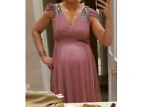 Maternity embellished formal midi dress