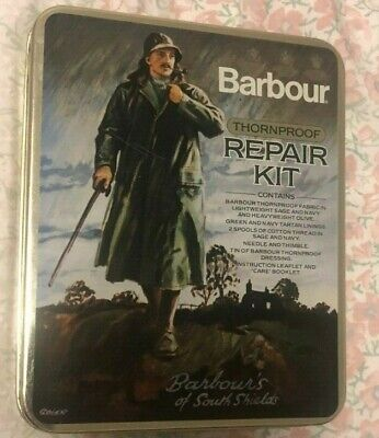 BARBOUR-  THORNPROOF REPAIR KIT IN METAL TIN -VINTAGE TWO CREST- MADE IN ENGLAND