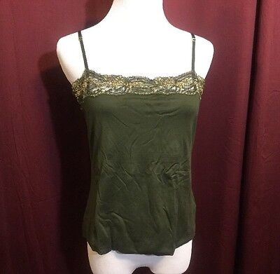 Ralph Lauren Black Label Cami Tank Top NWT Women's L Green w/ Gold Lace Trim