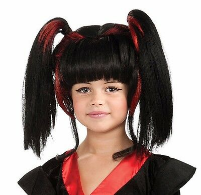 Girls Geisha Wig Halloween Costume Black & Red Hair Pig Tails Kids Child Samurai