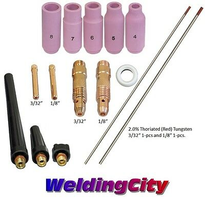 Tig Welding Torch 171826 Kit 332-18 Collet-tungsten Red T57a Us Seller