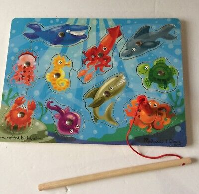 (Melissa & Doug Magnetic Wooden Fishing Puzzle Game With 10 Ocean Animal Magnets)