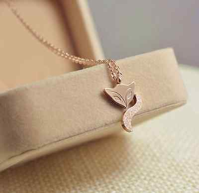 Fox Rose Necklace - 18KGP Rose Gold Stainless Steel 316L Cute Fox Pendant Necklace with Gift Box