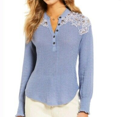 Free People Eazy Breezy Henley Cotton Embroidered Top Sky Blue Size L