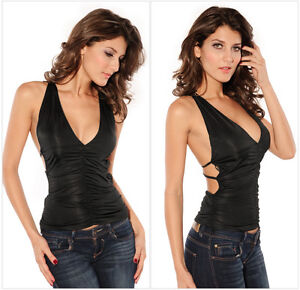 Women's Sexy Halter V-neck Low Cut Lace Shirt Open Back Tight Tank Top Clubwear