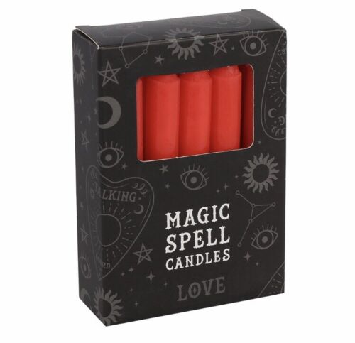 12 Red Magic Spell Candles Love Romance Ritual Alter Gothic Pagan Witch Wicca