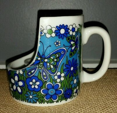 Vintage Royal Crown HARMONY Candle Holder JAPAN Flower Butterfly Blue/Green 4141