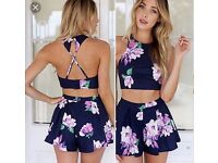 FLORAL TWO PIECE, CROP TOP AND SHORTS