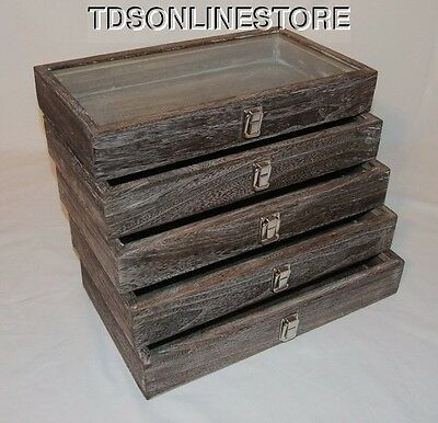 Rustic Antique Coffee Color Wood Glass Top Display Cases Package Of 5