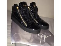 Giuseppe Zanotti Black Patent Midtop Sneakers