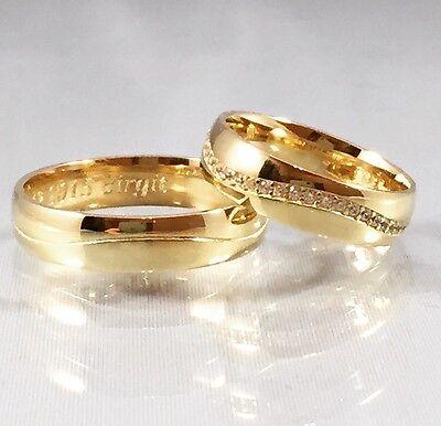 Paarpreis Trauringe Eheringe Partnerringe Verlobungsringe 5 mm 585 Gold 14 Karat