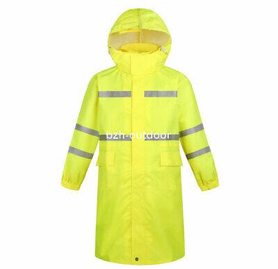 Hi-Vis Class 3 Safety Long Jacket Neon Reflective Rain Coat Hooded Work Parka Hi Vis Parka