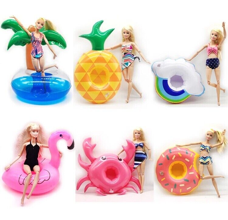 SALE 5 +1 Barbie Or LOL Doll Inflatable Floats For Pool Or Use As Doll Furniture