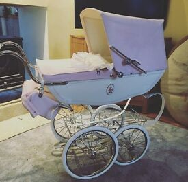 Beautiful coach built silver cross dolls pram, pink and cream
