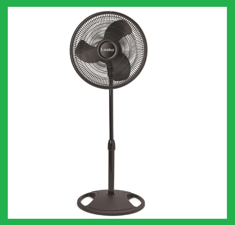 Oscillating Floor Pedestal Fan 3-Speed Black Quiet Adjustabl