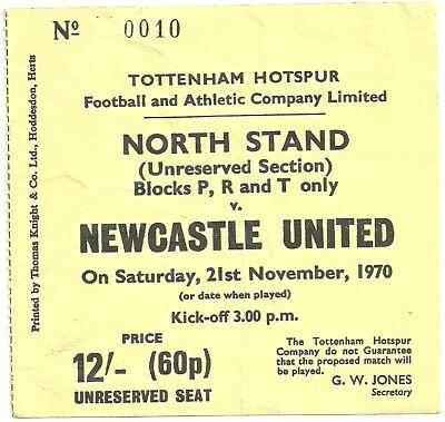 TICKET TOTTENHAM - NEWCASTLE 21/11/1970