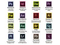 ADOBE PHOTOSHOP, INDESIGN, ILLUSTRATOR CC 2017,etc... PC or MAC