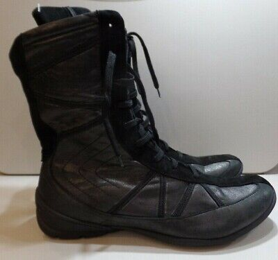 khrio, italian leather boots, black metallic lace up, suede trim, ankle boot,UK4