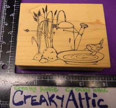 WATERCAN BIRD BATH ROCKS RUBBER STAMP A COUNTRY WELCOME