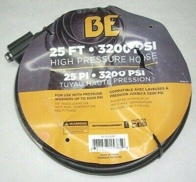 Be 85.225.229p Pressure Washer Hose 14 X 25 M22 Fittings 3200 Psi 140 Deg Max