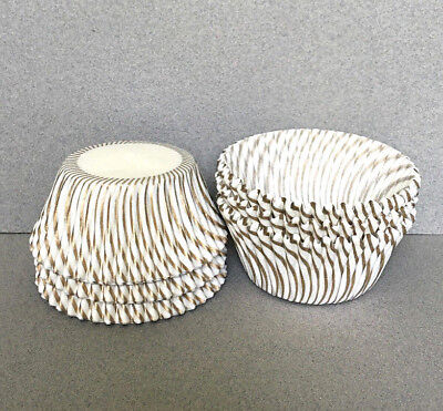 Gold Stripe Cupcake Liners, Gold Stripe Cupcake Wrappers, Gold Baking Cups