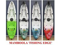 Manboola Epic or Fishing Edge sit on kayak with backrest & paddle & Fishing side rod holders.
