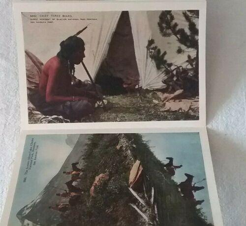 Vintage Glacier National Park Blackfeet Indians Souvenir Folder