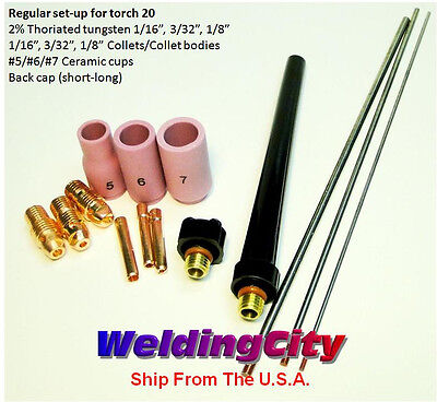 Tig Welding Kit Ak4 Collet-cup-cap-tungsten 11618 For Torch 20 Us Seller