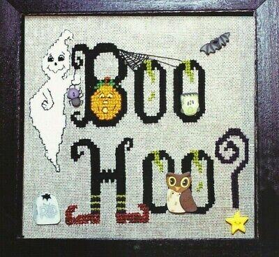 BOO HOO--Ghost--Witch's Shoes--Pumpkin--Halloween--Counted Cross Stitch - Boo Hoo Halloween