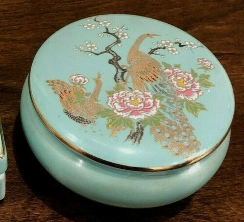 Japanese Peacock & Floral Round Jade Green Porcelain Jewelry Trinket Box Footed
