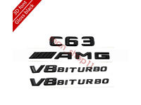 """Chrome /""""C63 AMG V8 BITURBO/"""" Number Emblem Sticker for Mercedes-Benz"""