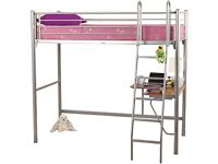 High sleeper metal bed frame with desk