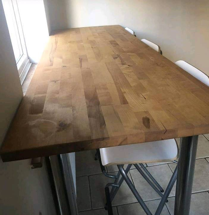 wooden ikea worktop breakfast bar  in north shields tyne