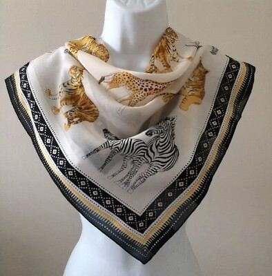NEW*Beautiful*Symphony Scarf*Endangered Species Animals /Ladies*Blk,Gld, White